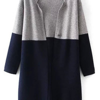 Navy Color Block Long Sleeve Knit Cardigan