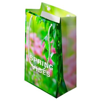 Birch leaves tulip flowers customizable small gift bag