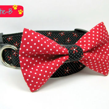 Black / Red Daisy Flower Dog Collars with bow tie set  (Mini,X-Small,Small,Medium ,Large or X-Large Size)- Adjustable