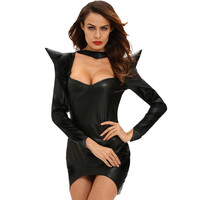 Dark Sorceress Faux Leather Horn Hooded Mini Halloween Costume in Black