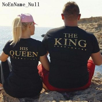 NoEnName_Null Short Sleeve Tops For Women 2017 Summer King Queen Letter Pinted Casual T Shirt Black Top Sexy Couples Tee Shirts