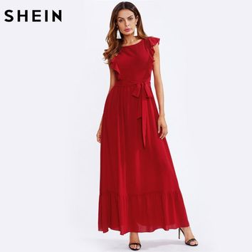 Frill Shoulder & Hem Cap Sleeve Round Neck Self Belted Elegant A Line Maxi Dress