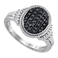 Diamond Fashion Ring in White Gold-plated silver 0.25 ctw