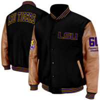 LSU Tigers Varsity Letterman Button-Up Jacket - Black/Tan
