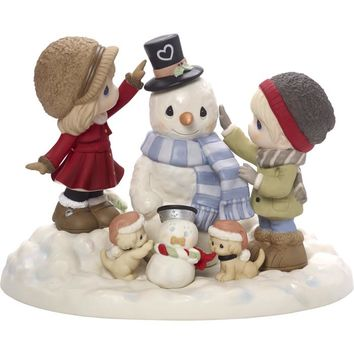Precious Moments Lmtd Edition Couple Building Snowman Together Figurine - 171020