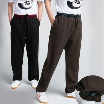 Thick Flax Male Hemp Tai Chi  Pants Woman Martial Art Yoga   Pants