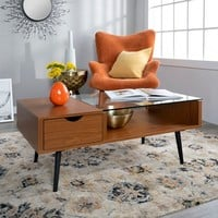 Wood And Glass Coffee Table - Saracina Home