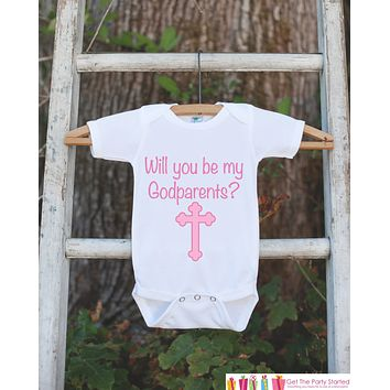 Will You Be My Godparents Outfit - Infant Baby Girl Bodysuit - Godparents Newborn Onepiece - Godchild & Godparent Keepsake with Pink Cross
