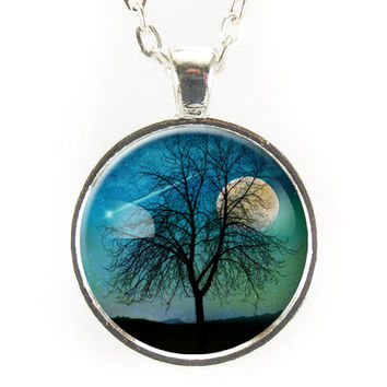 Tree And Shooting Star With Moon Necklace, Midnight Blue