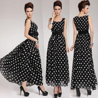Women's Sleeveless Polka Dot Chiffon Maxi Long Dress Bohemian Beach Sundress = 1928354756