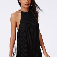 Missguided - Pleated Chiffon Strappy Romper Black