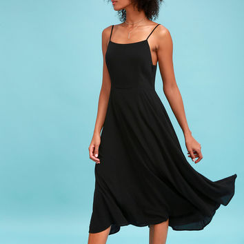 Going Coastal Black Midi Dress