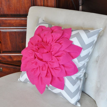 MOTHERS DAY SALE Pillows Hot Pink Dahlia on Gray and White Zigzag Pillow -Decorative Throw Pillow-