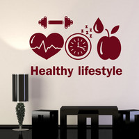 Vinyl Wall Decal Healthy Lifestyle Sports Motivation Diet Gym Stickers Unique Gift (ig4784)