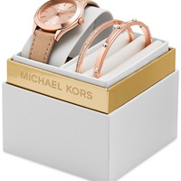 Michael Kors Women's Slim Runway Vachetta Leather Strap Watch Box Set 33mm MK3428