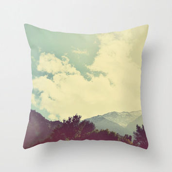 Mountains Pillow Cover, Pale Blue, Clouds, Sky, Morocco, Travel Photo, Shabby Chic, Nature, Home Decor, Cottage Decor, Landscape, Cushion
