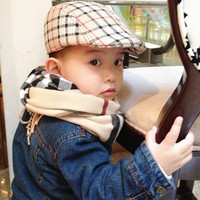 Spring and Autumn Fashion Kids Berets Plaid Hats For Boy And Girl Hat And Cap Baby Berets Hats 2017 Best Gifts 9 Color Available