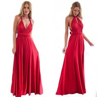 2017 Summer Sexy Boho Floor Dress for Women Multiway Bridesmaids Convertible Backless Dress with Halter Bandage Red Party Dresses ZL3055