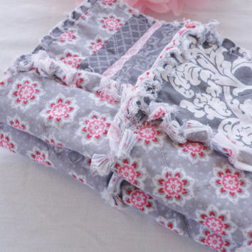 Read To Ship Set of 2 Shabby Chic Baby Girls Burp Cloths Pink Grey White Demask Reversable