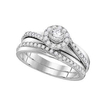 10kt White Gold Women's Round Diamond Halo Bridal Wedding Engagement Ring Band Set 1-1/2 Cttw - FREE Shipping (US/CAN)
