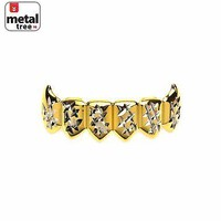Jewelry Kay style Men's Bling 14k Gold Plated Bottom 2 Tone Mouth Caps Teeth Grillz S020-C2-G