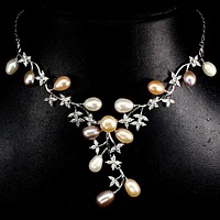 SALE    A Natural  14K White Gold Baroque Pearl AAAA CZ Necklace