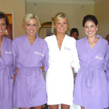 Monogrammed Robe Personalized Purple Waffle Robe Bridesmaids Gifts waffle weave robes