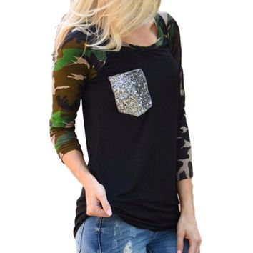 Women's Black Sequin Pocket Raglan Sleeve Camouflage T-Shirt Top