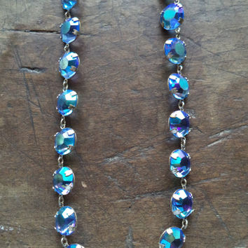 Antique Art Deco Necklace Choker Rhinestones Open Back Aurora Borealis Statement Jewelry Accessories Blue Bridal Wedding Silver Women