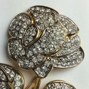 Nolan Miller Brooch, Rhinestone Flower Pin, Vintage Jewelry, FALL Sale
