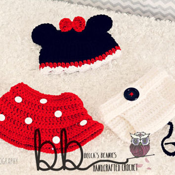 Minnie mouse Newborn 3 piece set - crochet - made to order