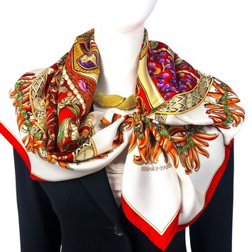 Aux Pays des Epices Hermes Silk Scarf White & Red