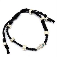 YOGA-CLOTHING.com Macrame and Crystal Hamsa Bracelet - Black