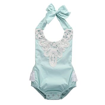 4Color ! Baby Girl Spaghetti straps Halter Sky Blue lace Romper Backless Jumpsuit Lace Sunsuit Outfits One-pieces for Christmas