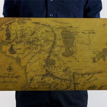 Vintage MIDDLE EARTH MAP On The Lord of the Rings Poster Home Decor Wall Sticker 51x35cm Retro Kraft Paper