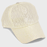 Floral Lace Baseball Cap Hat - Ivory