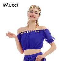 Women Polyester Belly Dancing Chiffon Off Shoulder Top 0927-99