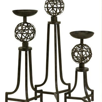 3 Candle Holders - Metal Spheres