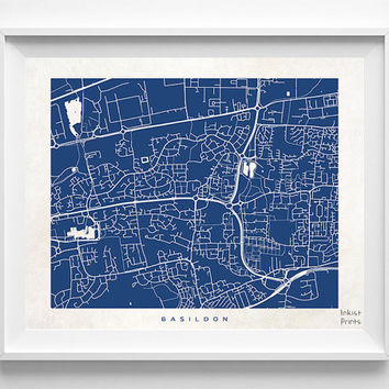 Basildon Map, Basildon Print, England Poster, England Print, Giclee Print, Dorm Decorations, Dorm Wall Decor, Halloween Decor