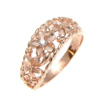 PINK ROSE GOLD PLATED 925 SILVER 5 HAWAIIAN PLUMERIA FLOWER CZ RING CURVE STYLE