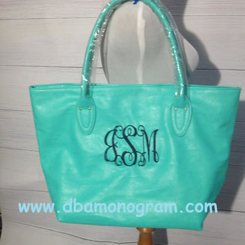 Monogrammed Leather Hobo Handbag - Monogram Tote Purse