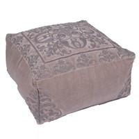 Lamont Beige Low Square Pouf
