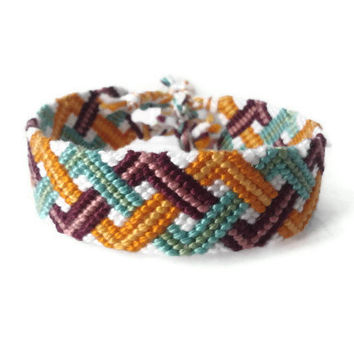 "friendship bracelet wrist cuff unisex adult friendship cuff ""triple zig zag"",15,5 cm (6,1 inches)"