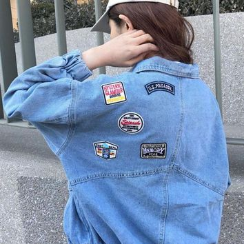 ESB2N Fashion Loose Embroidered flowers Denim blue Cardigan Jacket Tagre-