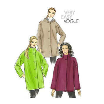 VOGUE HOODIE JACKET, Funnel StandUp Collar Coat Jacket Very Easy Vogue 8539 Bust 31.5 32.5 34 36 38 Size 8 to 16 UNCuT 2000s Sewing Patterns