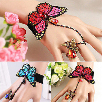 New Butterfly Lace Slave Chain Link Finger Ring Bangle Hand Harness Bracelet HU