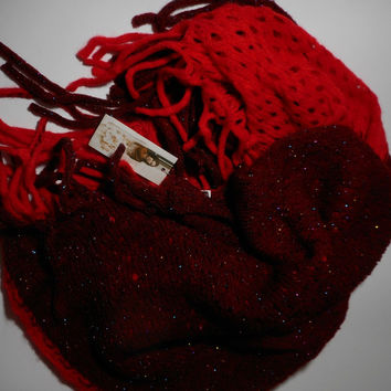 Red and Dark Red Sparkle Yarn Infinity Scarf