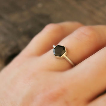 "Geometric ring Hexagon Black Spinel gemstone Sterling Silver ring modern simple clean style black and silver--""Hex""  FREE WORLDWIDE SHIPPING"