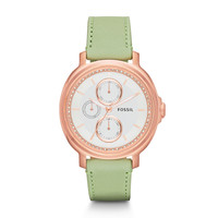 Chelsey Multifunction Leather Watch - Sage