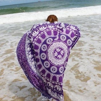 Square Purple Tassel Beach TowelHippie Mandala Bohemian Psychedelic Intricate Floral Design Indian Bedspread Magical Thinking Tapestry  12117 251cm*145cm